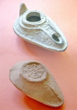 Byzantine Pottery Oil Lamp with Cross 600-700 AD
