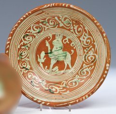 German stoneware plate. Circa 1600.