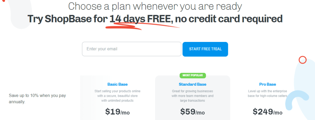 Shopbase subscription plans