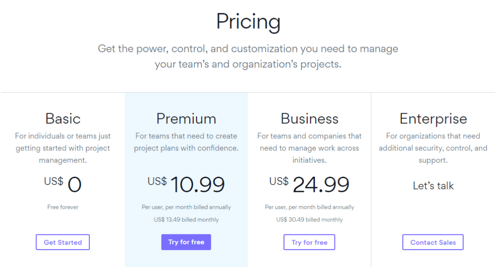Asana project management tools pricing plans