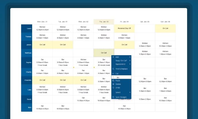 advance scheduling management for employees