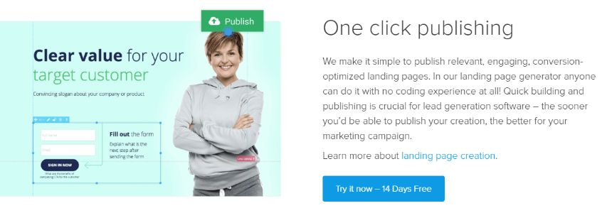 1-Click Landing Page Builder – Start with a Free trial