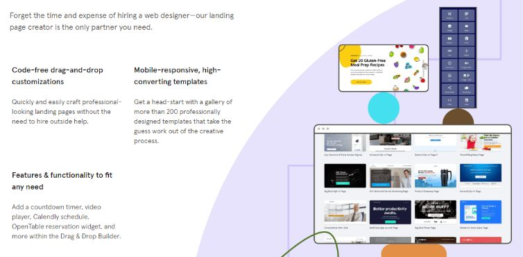 Drag and drop simple yet powerful landing page builder