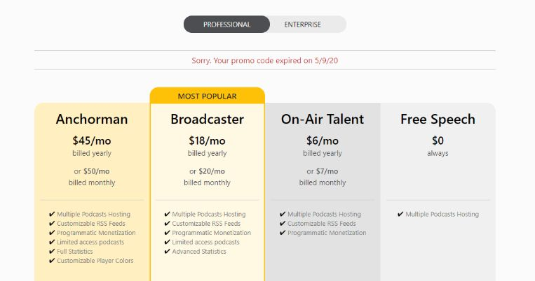 Spreaker susbcription plans