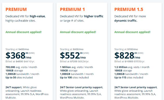 High-end dedicated hosting start with $368 per month