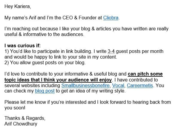 do email outreach to other bloggers & website owners to build powerful backlinks