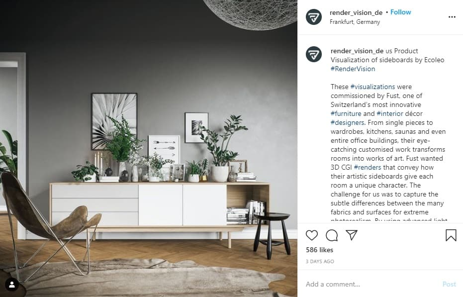 Instagram is perfect for furniture related product promotion