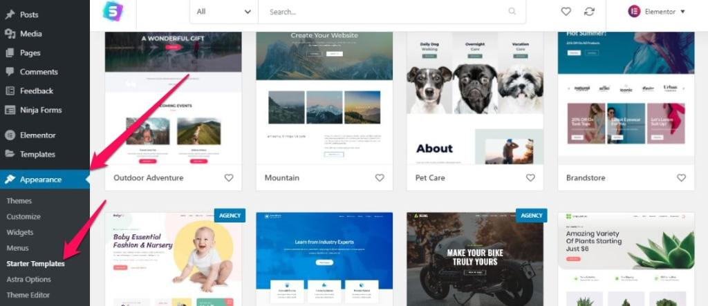 to install a ready-made professional theme you should use Astra plugin. It has many free 1-click install WordPress themes available to download