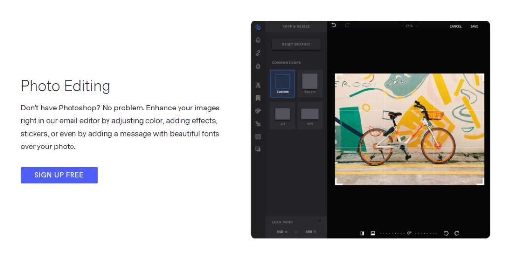 No need to have any photo editor software, Benchmark email has built-in photo editing software that capable of doing all sorts of photo editing