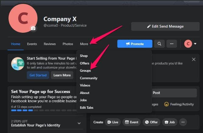 you can create a group for your Facebook business page.