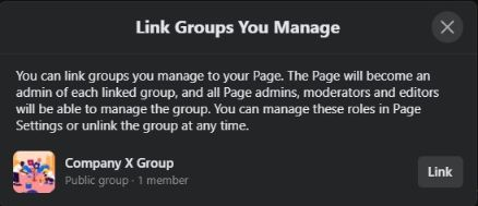 you can easily link a group with your Facebook page.