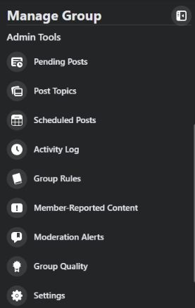 Admin tools has many options to customize your group.