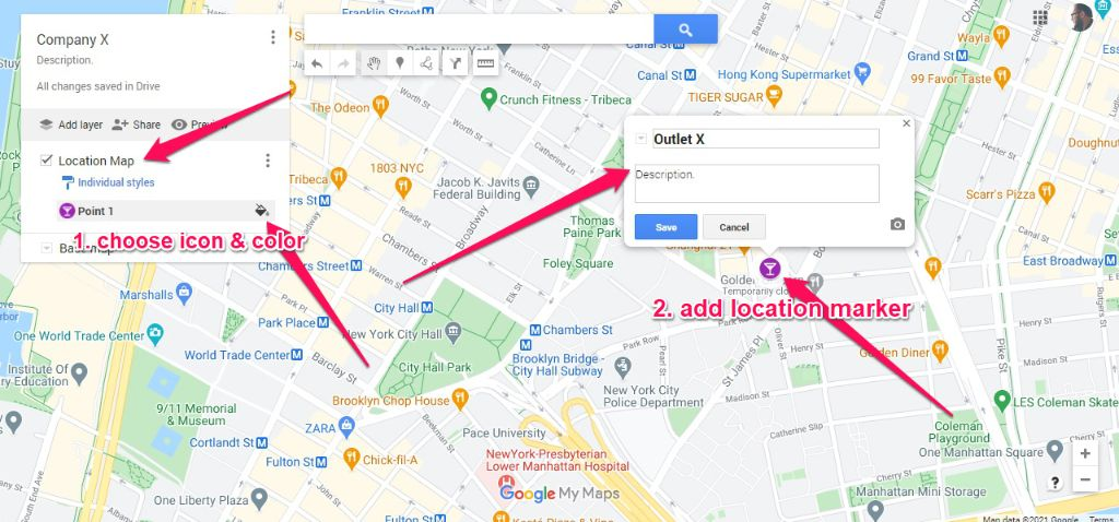 You can add location marker anywhere on the map. Click on the description box to give it some details.