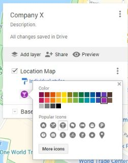 Choose icon for your location marker & colors.