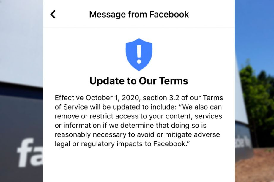 Social media such as Facebook terms and conditions can be change any time and you have to adhere their rules if you have a Facebook page.