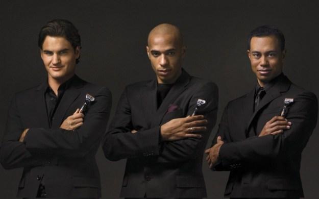 Roger Federer, Thierry Henri e Tiger Woods per Gilette