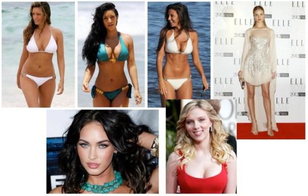 Se non vi orientate: Kim (seno) ha il costume turchese, Kelly Brook (fianchi) è alla sua sinistra, mentre alla sua destra c'è Michelle Keegan (pancia)