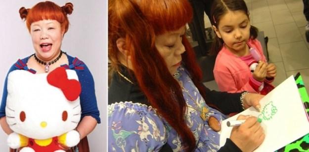 Yuko Yamaguchi, la terza mamma di Hello Kitty (prima di lei oltre a Yuko Shimizu anche Setsuko Yonekubo). Un po' le somiglia anche: viso paffuto, codini e fiocchetti, vestiti colorati.