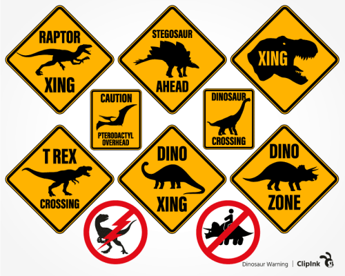 dinosaur warning svg