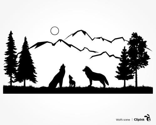 wolf scene svg