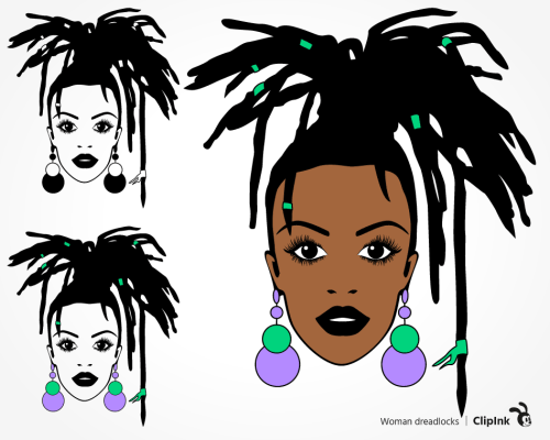 black woman dreadlocks svg