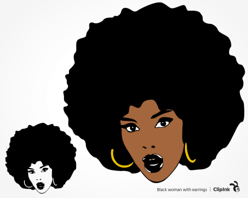 black woman earrings svg