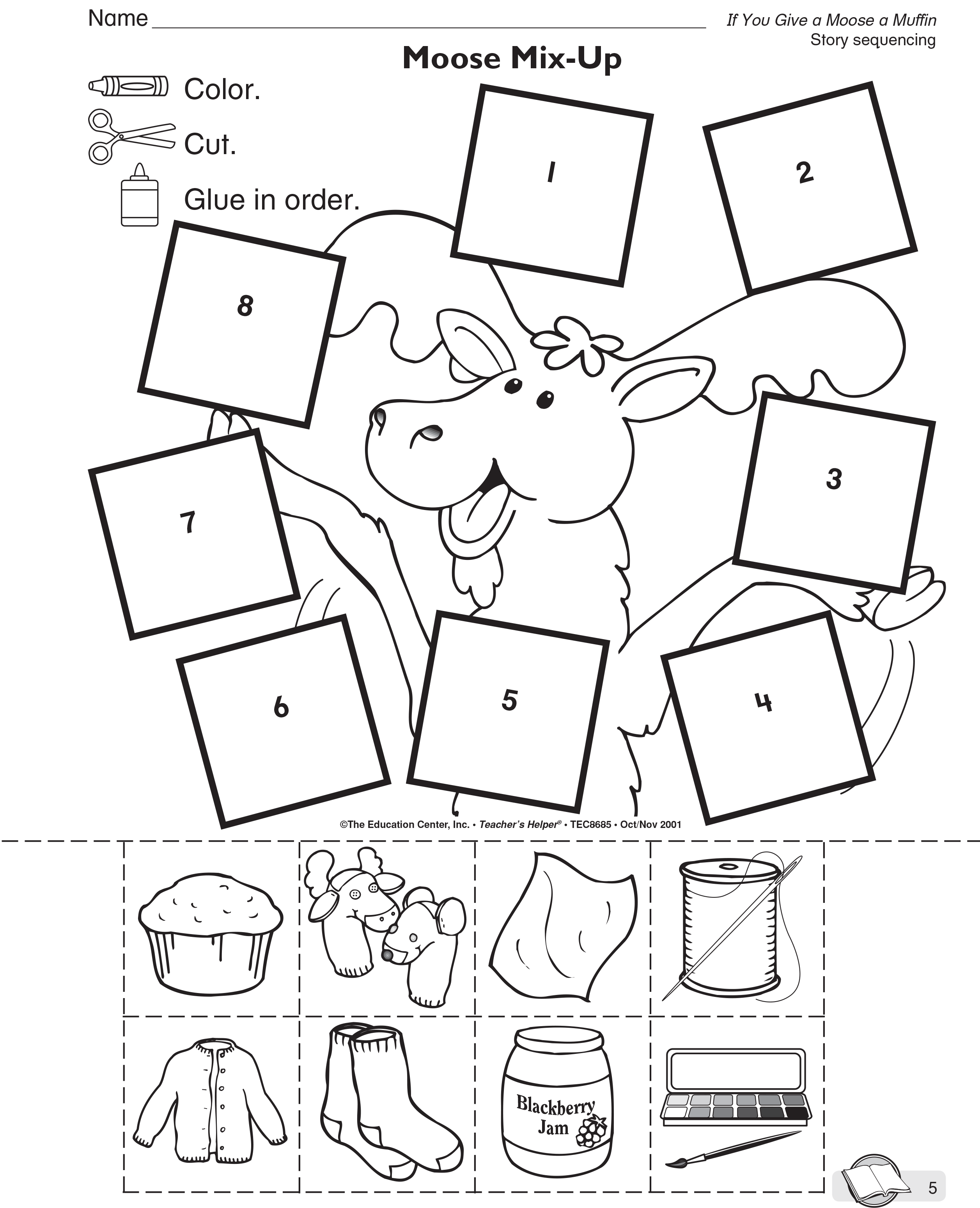 If You Give A Moose A Muffin Activity Sheet