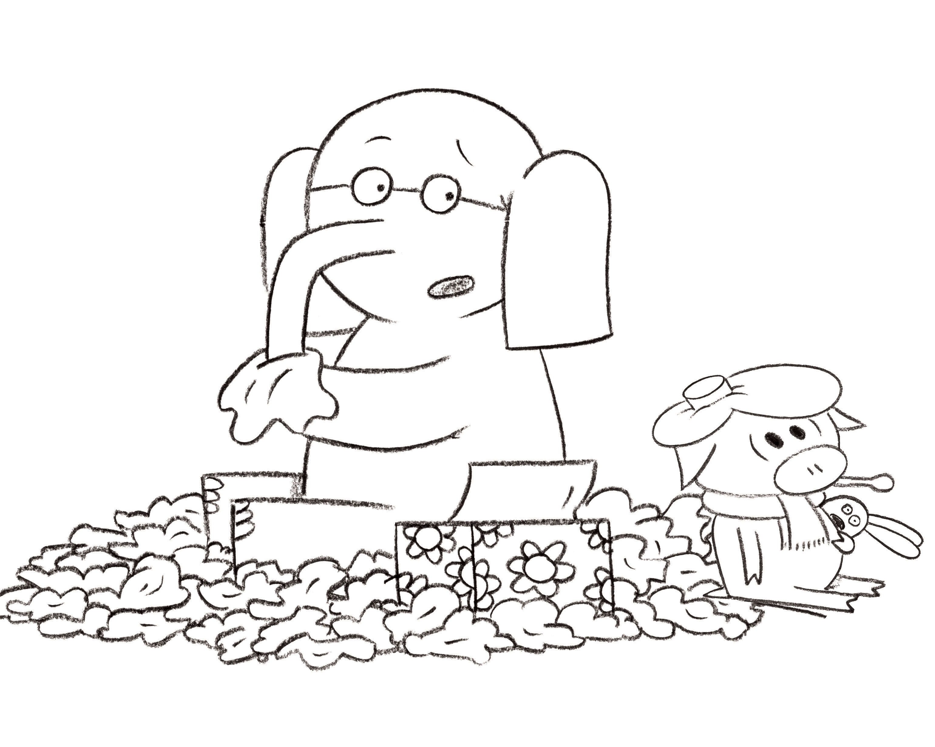 Mo Willems Piggie And Elephant Coloring Pages