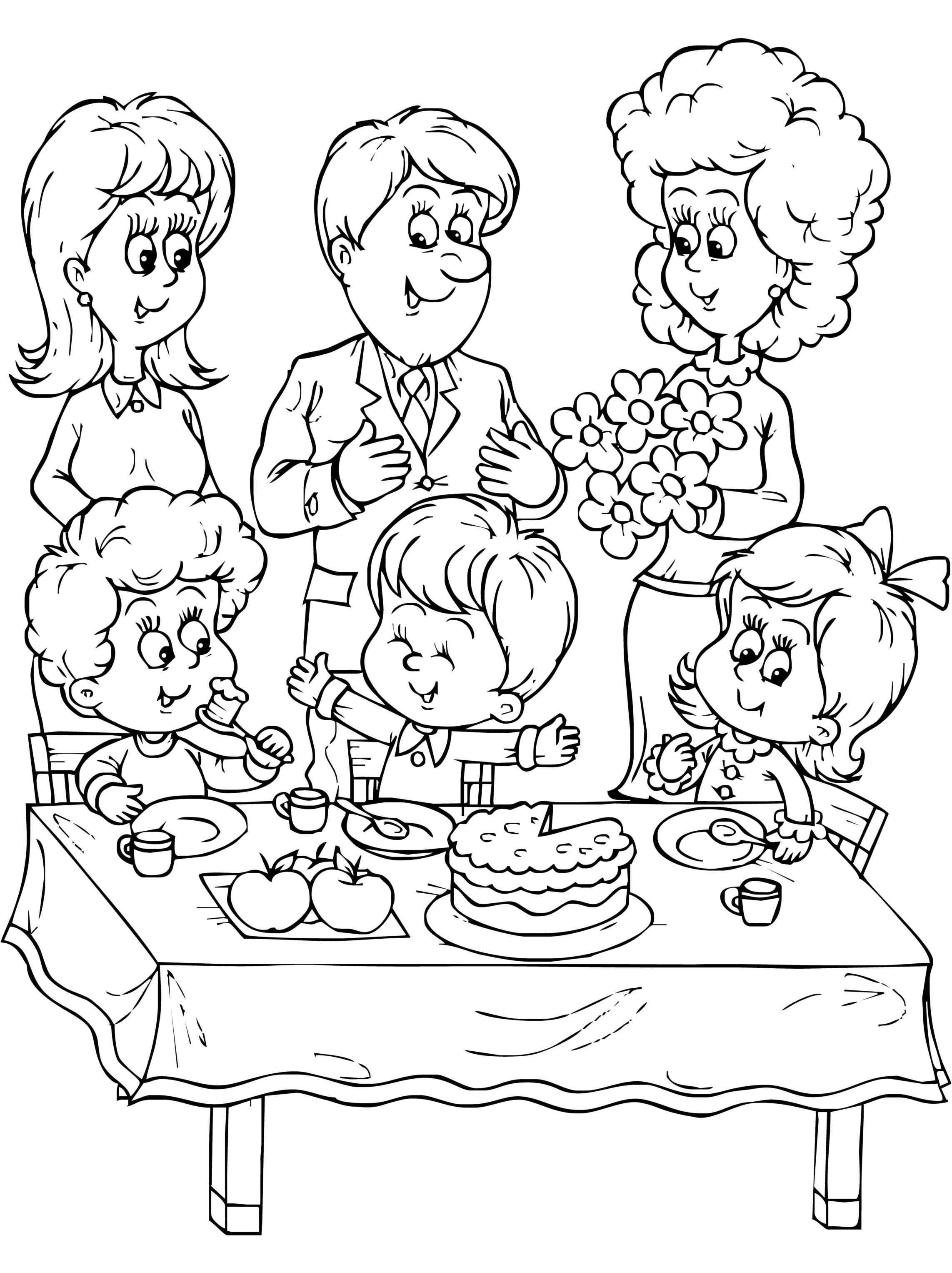 Free Family Picture Coloring Page Download Free Clip Art