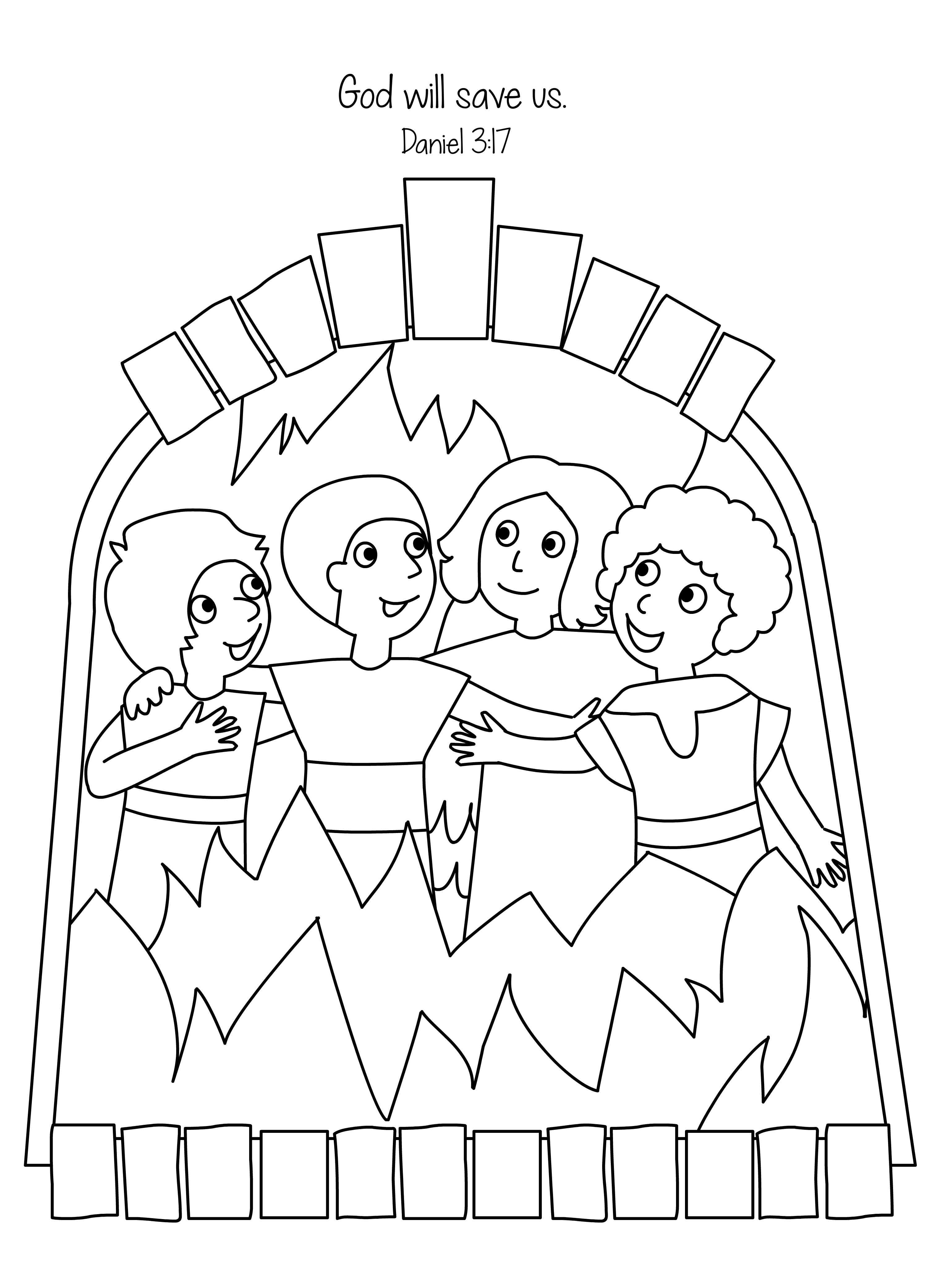 Amazing Fiery Furnace Coloring Page