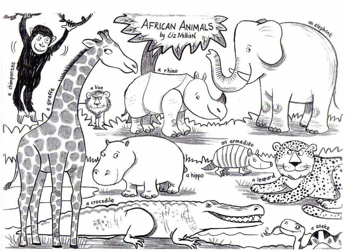Free Coloring Page African Animals Download Free Clip Art
