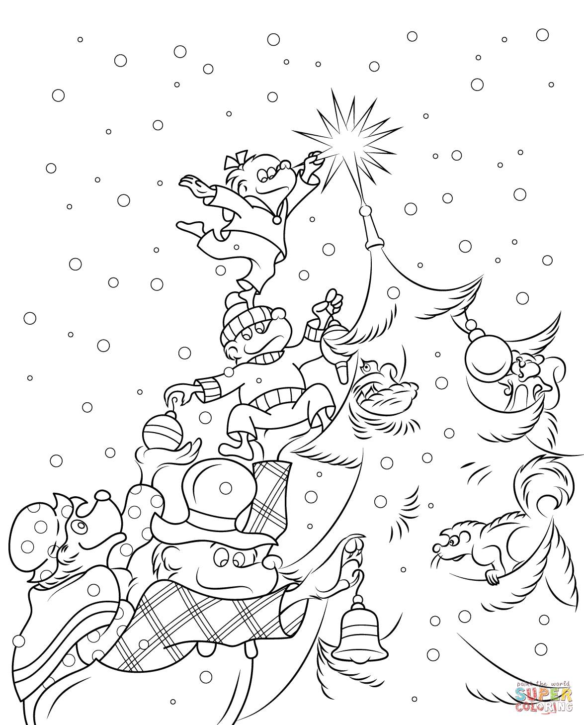 The Berenstain Bears Christmas Tree Coloring Page