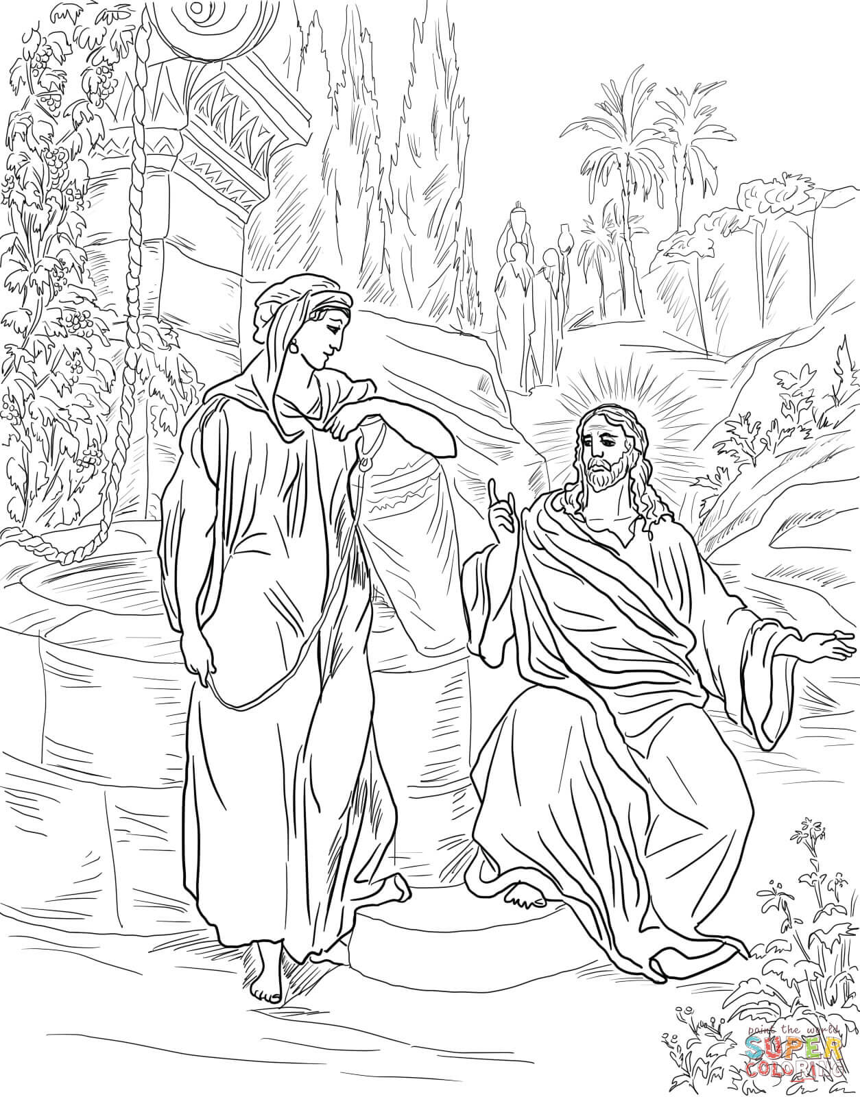 Free Woman At The Well Coloring Pages Download Free Clip