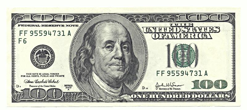 100 Benjamin Franklin Drawing Dollar Bill