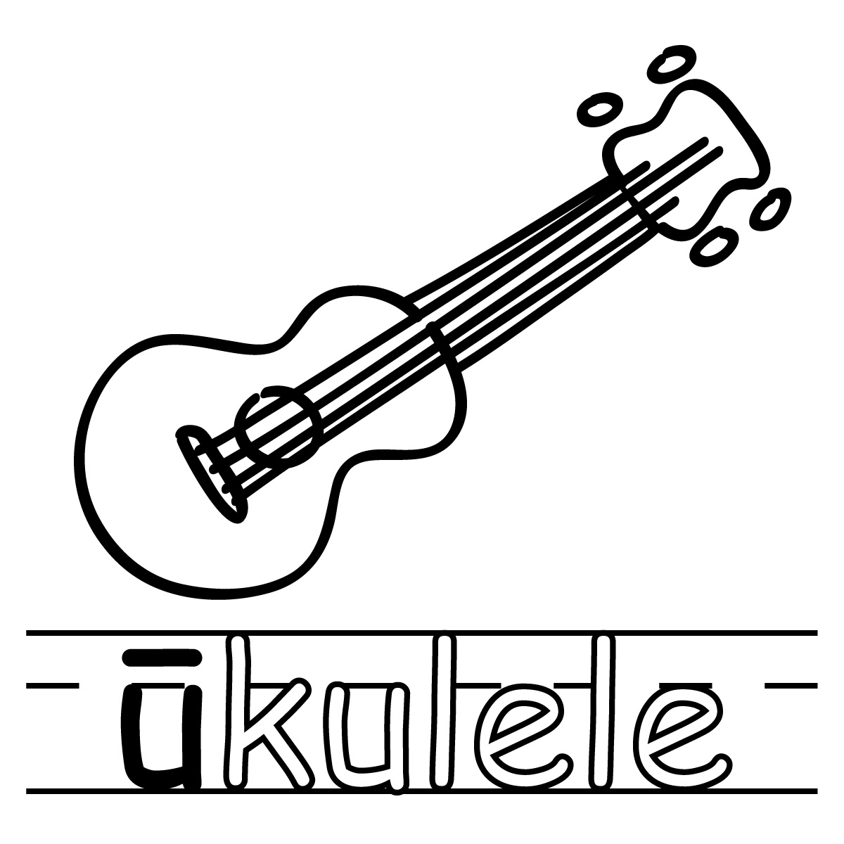Clip Art Basic Words U Long Sound Phonics Ukulele B W