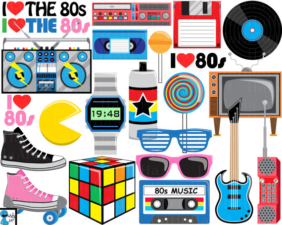 Download I Love The 80s v2 Digital Clipart Clip Art Graphics by ...