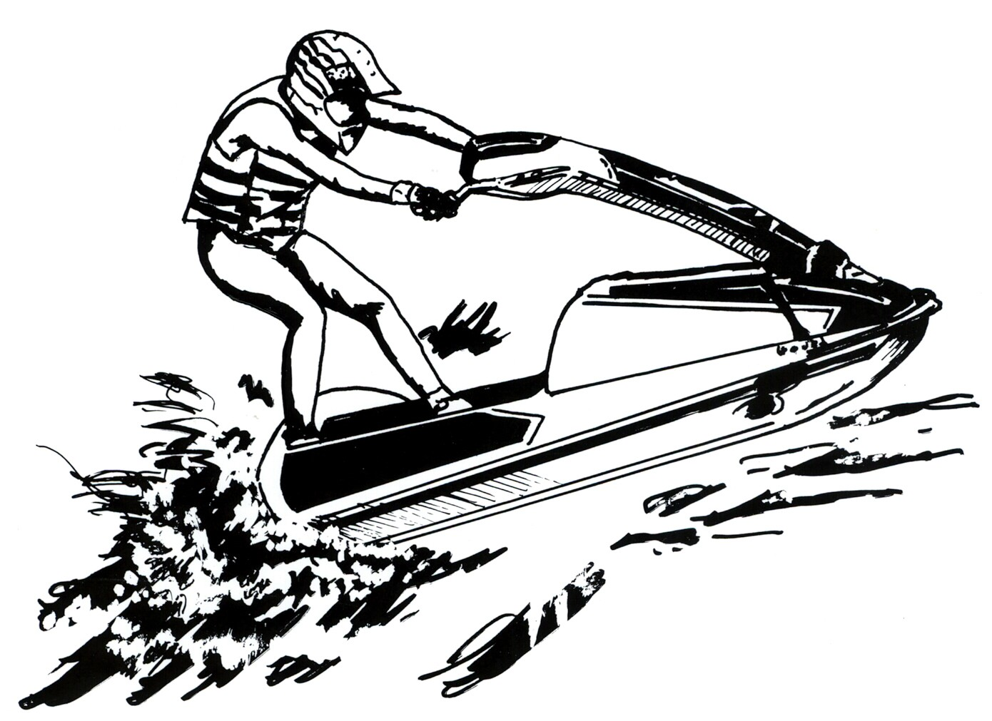 Jet Ski Clip Art Black And White
