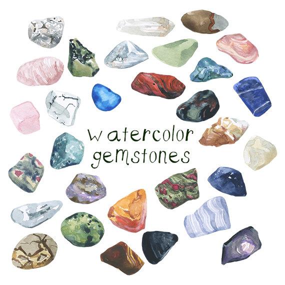 Watercolor Gemstones Illustration Rocks By