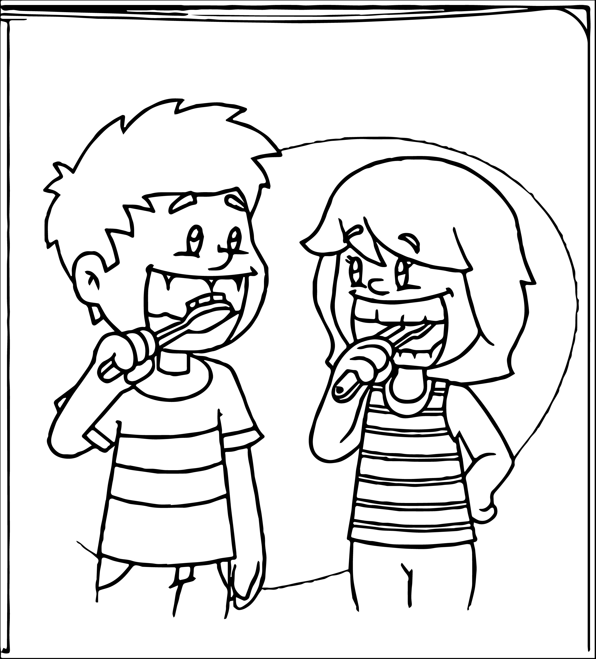 Kid Brushing Teeth Coloring Page