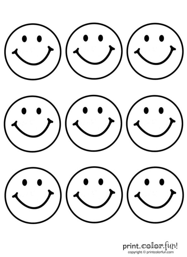 happy face coloring page # 19