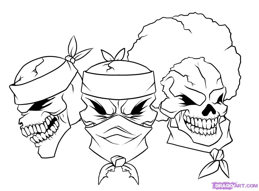 How To Draw Gangsta Step By Step Skulls Pop Culture