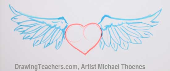 Free Pencil Drawings Of Hearts With Wings And Banners