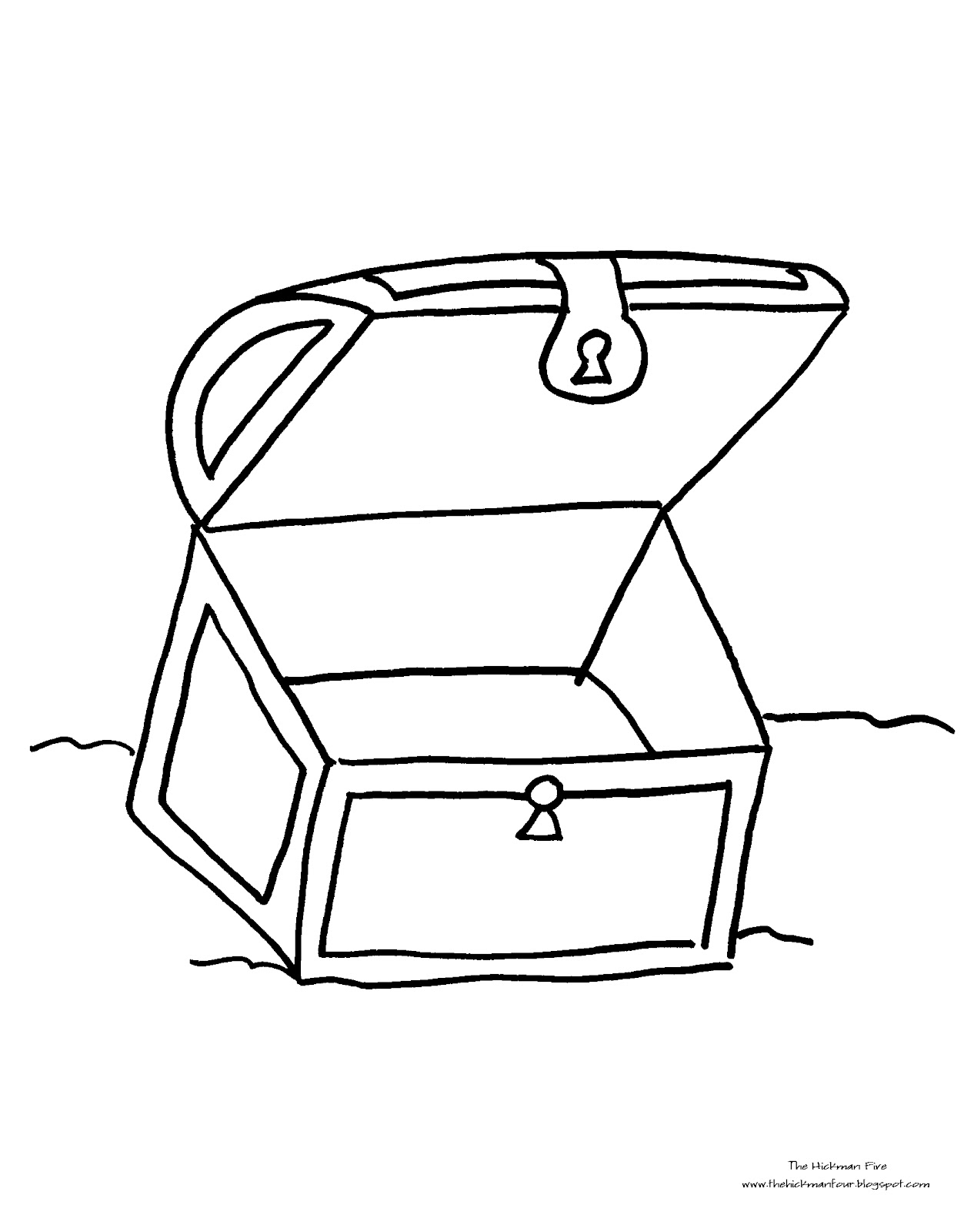 Free Black And White Outline Of A Treasure Chest Download