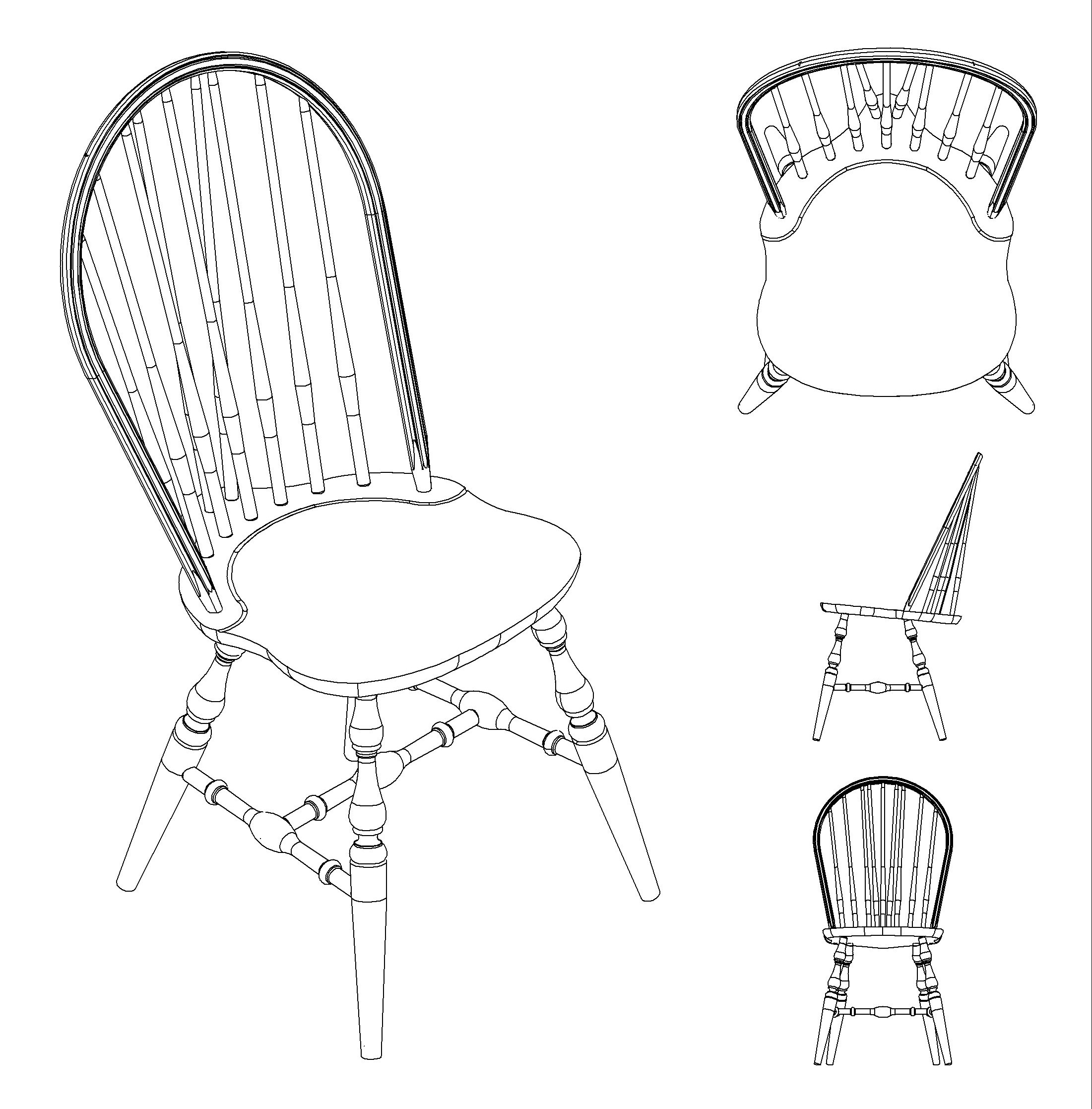 512 Custom Woodworking Archive Windsor Side Chair Line