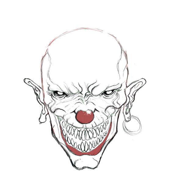 Evil Clown Drawings Clip Art Library