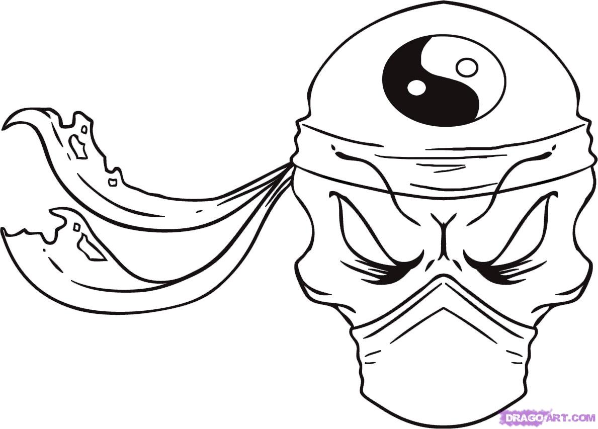 How To Draw A Ninja Skull Step By Step Skulls Pop
