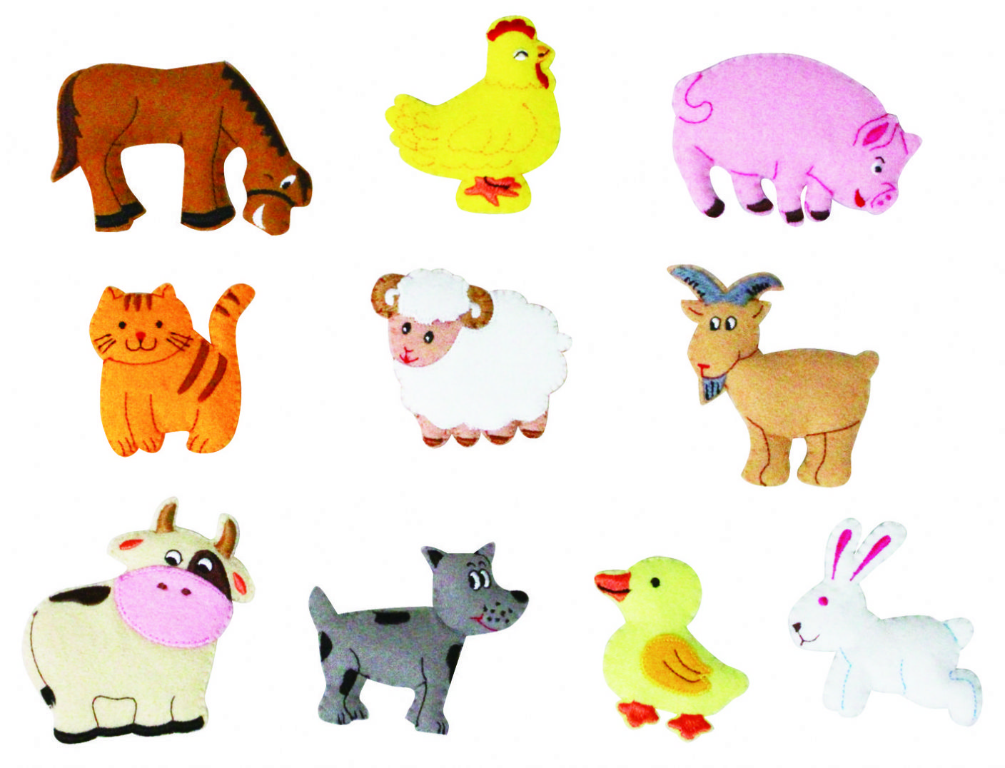 Farm Animals Felt Motifs