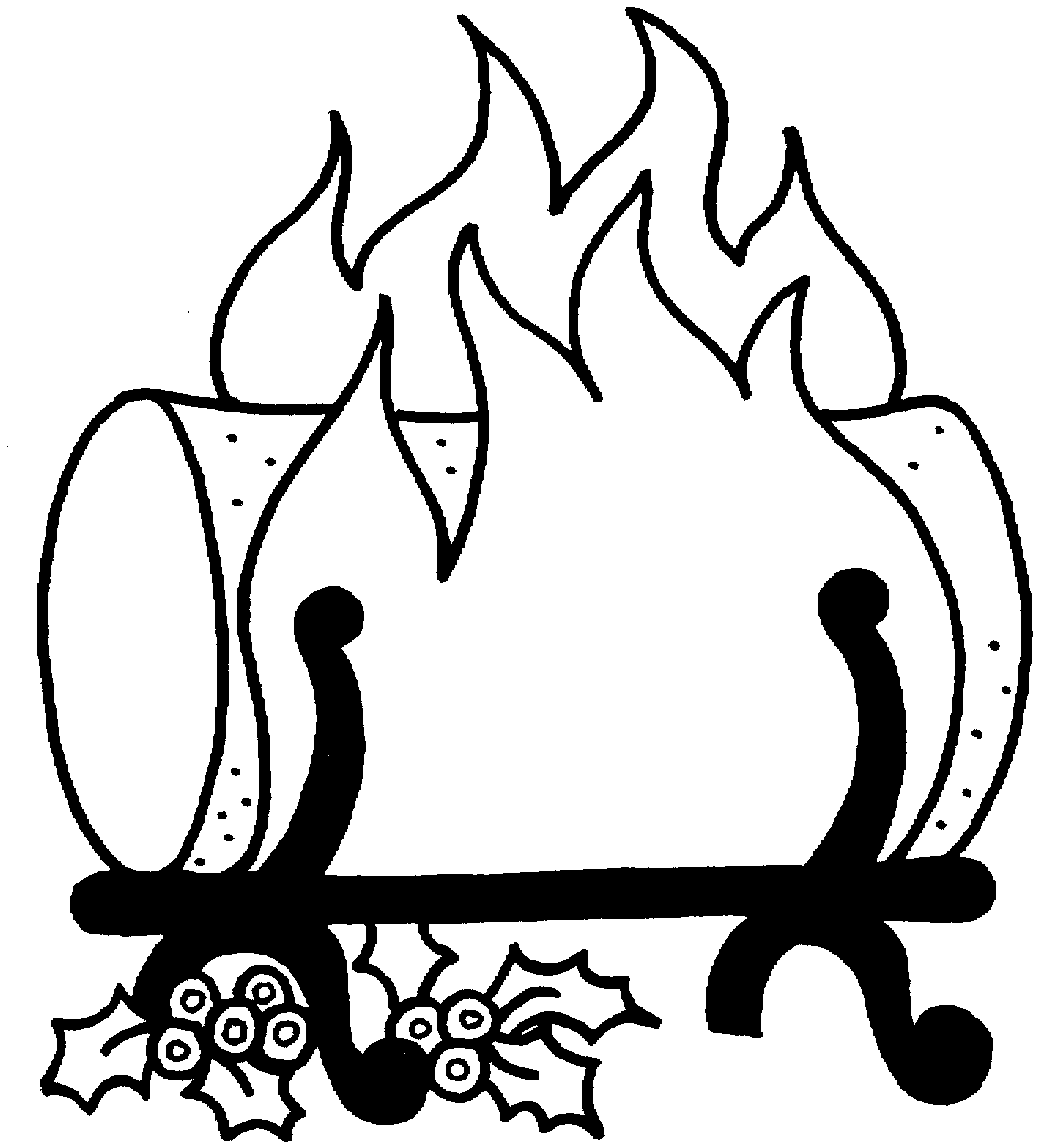 Log Fire Colouring Pages Page 2