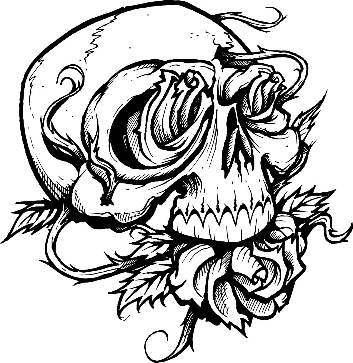 Images For Tattoo Drawings Of Skulls And Flowers