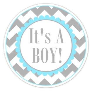 Baby Shower Labels Chevron It's A Boy Stickers by delightdesignbiz